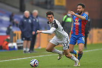 Antonee Robinson of Fulham battles with Andros Townsend of Crystal Palace during the Premier League behind closed doors match between Crystal Palace and Fulham at Selhurst Park, London, England on 28 February 2021. Photo by Vince Mignott / PRiME Media Images.