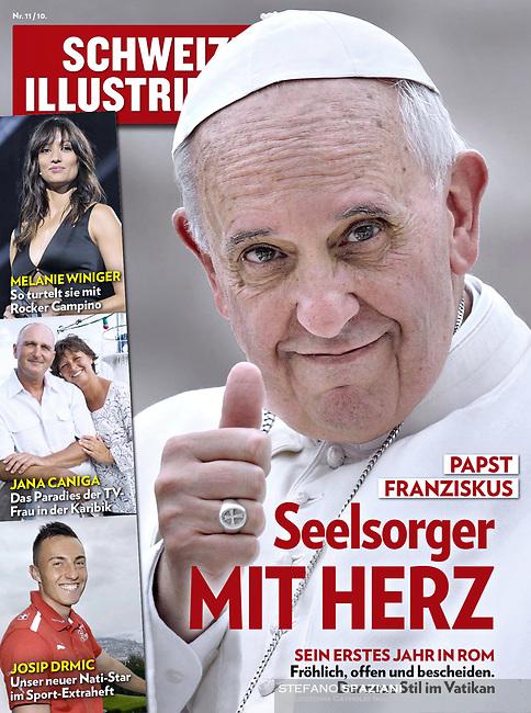 Schweizer Illustrierte Swiss Magazine, Pope Francis.<br /> Photograph by Stefano Spaziani.