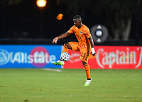 LAKE BUENA VISTA, FL - JULY 18: Darwin Quintero #23 of the Houston Dynamo settles the ball during a game between Houston Dynamo and Portland Timbers at ESPN Wide World of Sports on July 18, 2020 in Lake Buena Vista, Florida.