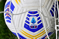 A Nike Serie A official ball with the Serie A logo printed is seen in the goal net during the Serie A football match between SS Lazio and FC Crotone at Olimpico Stadium in Roma (Italy), March 12th, 2021. Photo Andrea Staccioli / Insidefoto
