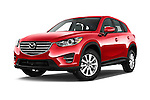 Stock pictures of low aggressive front three quarter view of2016 Mazda CX5 Premium Edition 5 Door SUV Low Aggressive