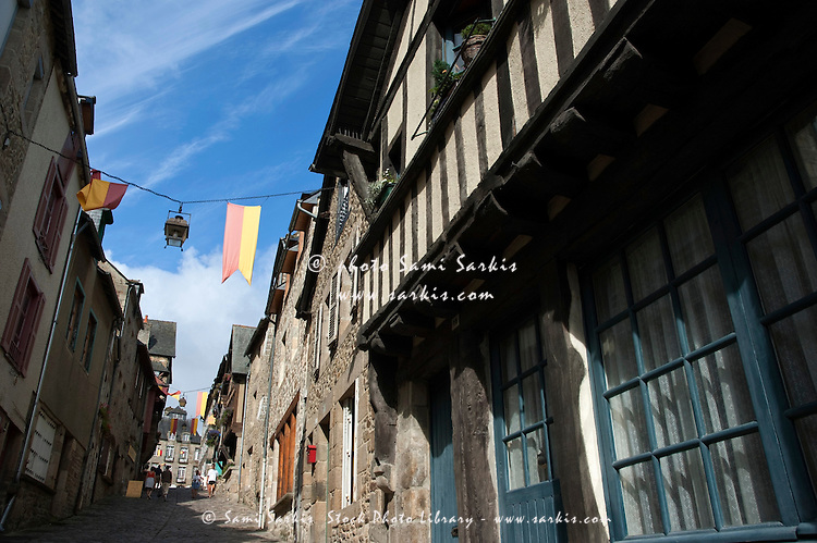 Rue du Jerzual in the medieval town of Dinan, Brittany, France.