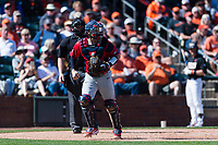 Gonzaga Bulldogs catcher Austin Pinorini (23) jogs off the field after the third out during a game against the Oregon State Beavers on February 16, 2019 at Surprise Stadium in Surprise, Arizona. Oregon State defeated Gonzaga 9-3. (Zachary Lucy/Four Seam Images)