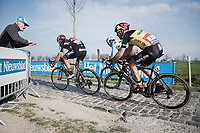 race leaders Greg Van Avermaet (BEL/BMC), Philippe Gilbert (BEL/Quick Step floors) & Oliver Naesen (BEL/AG2R-LaMondiale) on the Varent cobbles<br /> <br /> 60th E3 Harelbeke (1.UWT)<br /> 1day race: Harelbeke › Harelbeke - BEL (206km)