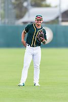 Oakland Athletics shortstop Jeremy Eierman (10) warms up before an exhibition game against Team Italy at Lew Wolff Training Complex on October 3, 2018 in Mesa, Arizona. (Zachary Lucy/Four Seam Images)