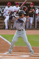 Lake County Captains infielder Yu-Cheng Chang (13) at bat during a Midwest League game against the Wisconsin Timber Rattlers on June 3rd, 2015 at Fox Cities Stadium in Appleton, Wisconsin. Wisconsin defeated Lake County 3-2. (Brad Krause/Four Seam Images)