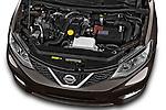 Car Stock 2015 Nissan Pulser Acenta 5 Door Hatchback 2WD Engine high angle detail view