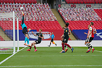 Goalkeeper Jonathan Maxted of Exeter City makes a save during the Sky Bet League 2 PLAY-OFF Final match between Exeter City and Northampton Town at Wembley Stadium, London, England on 29 June 2020. Photo by Andy Rowland.