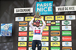Sergio Andre Higuita (COL) EF Pro Cycling wins the young riders White Jersey at the end of Stage 7 of the 78th edition of Paris-Nice 2020, running 166.5km from Nice to Valdeblore La Colmiane, France. 14th March 2020.<br /> Picture: ASO/Fabien Boukla | Cyclefile<br /> All photos usage must carry mandatory copyright credit (© Cyclefile | ASO/Fabien Boukla)