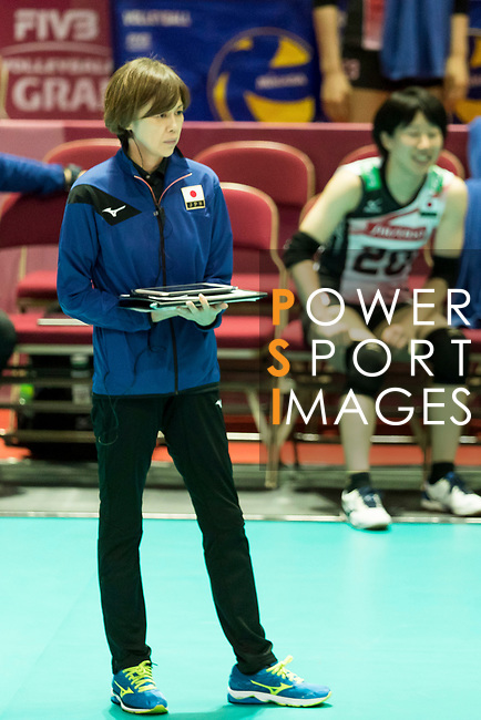 Head coach Kumi Nakada of Japan reacts during the FIVB Volleyball World Grand Prix - Hong Kong 2017 match between Japan and Serbia on 22 July 2017, in Hong Kong, China. Photo by Yu Chun Christopher Wong / Power Sport Images