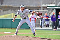 Notre Dame Fighting Irish starting pitcher Scott Kerrigan (31) delivers a pitch during a game against the Clemson Tigers during game one of a double headers at Doug Kingsmore Stadium March 14, 2015 in Clemson, South Carolina. The Tigers defeated the Fighting Irish 6-1. (Tony Farlow/Four Seam Images)