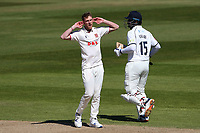 Frustration for Jamie Porter of Essex during Warwickshire CCC vs Essex CCC, LV Insurance County Championship Group 1 Cricket at Edgbaston Stadium on 25th April 2021