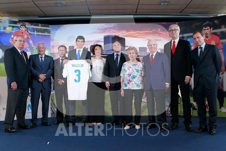 Real Madrid's new player Jesus Vallejo with the President Florentino Perez, his family and the Board of Directors during his official presentation. July 7, 2017. (ALTERPHOTOS/Acero)
