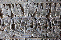 Cambodia, Angkor Wat.  Bas-relief Carving, First Corridor, Western Side of Temple.