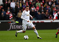 Pictured: Angel Rangel of Swansea. Saturday 16 March 2013<br /> Re: Barclay's Premier League, Swansea City FC v Arsenal at the Liberty Stadium, south Wales.