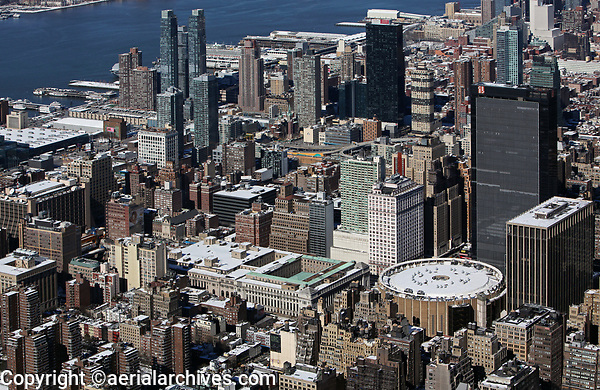 aerial photograph Madison Square Garden toward the Hudson River, Manhattan, New York City after a snow storm