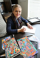 Visual artist Hannah Jeremiah continues to draw Wednesday, February 17, 2021, in her apartment in Fayetteville. Jeremiah is attending the first Artist INC Express workshop held in Arkansas. Artist INC has to date only been offered in NWA for Arkansas through the M-AAA. The program helps participants develop business skills as working artists. Check out nwaonline.com/210218Daily/ and nwadg.com/photos for a photo gallery.<br /> (NWA Democrat-Gazette/David Gottschalk)
