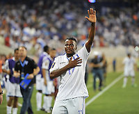 Marvin Antonio (17) of Honduras salutes the fans after scoring.  Honduras defeated Haiti 2-0 in the first round of the CONCACAF Gold Cup, at Red Bull Arena, Monday July 8 , 2013.