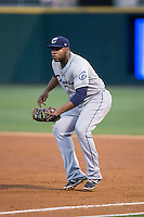 Columbus Clippers first baseman Jesus Aguilar (30) on defense against the Charlotte Knights at BB&T BallPark on May 3, 2016 in Charlotte, North Carolina.  The Clippers defeated the Knights 8-3.  (Brian Westerholt/Four Seam Images)