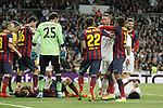Real Madrid´s Sergio Ramos (C) and Barcelona´s Dani ALves and Neymar Jr fight during La Liga match in Santiago Bernabeu stadium in Madrid, Spain. March 23, 2014. (ALTERPHOTOS/Victor Blanco)