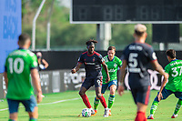 LAKE BUENA VISTA, FL - JULY 14: C.J. Sapong #9 of the Chicago Fire defends the ball during a game between Seattle Sounders FC and Chicago Fire at Wide World of Sports on July 14, 2020 in Lake Buena Vista, Florida.