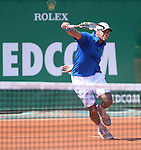 Jo Wilfried Tsonga (FRA) defeats Fabio Fognini (ITA) 5-7, 6-3, 6-0 at the Monte Carlo Rolex Masters tournament in Monte Carlo, Monaco on April 17, 2014.