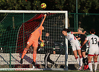 OHL's goalkeeper Louise Van Den Bergh (1) does a save during a female soccer game between Oud Heverlee Leuven and Eendracht Aalst Ladies  on the third matchday of the 2020 - 2021 season of Belgian Womens Super League , Sunday 4 th of October 2020  in Heverlee , Belgium . PHOTO SPORTPIX.BE | SPP | SEVIL OKTEM