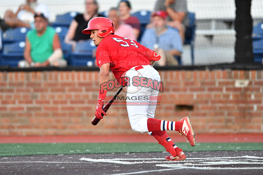 Johnson City Cardinals Aaron Antonini (53) runs to first base during game one of the Appalachian League Championship Series against the Burlington Royals at TVA Credit Union Ballpark on September 2, 2019 in Johnson City, Tennessee. The Royals defeated the Cardinals 9-2 to take the series lead 1-0. (Tony Farlow/Four Seam Images)