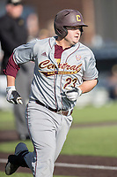 Central Michigan Chippewas designated hitter Robert Greenman (23) runs to first base against the Michigan Wolverines on May 9, 2017 at Ray Fisher Stadium in Ann Arbor, Michigan. Michigan defeated Central Michigan 4-2. (Andrew Woolley/Four Seam Images)