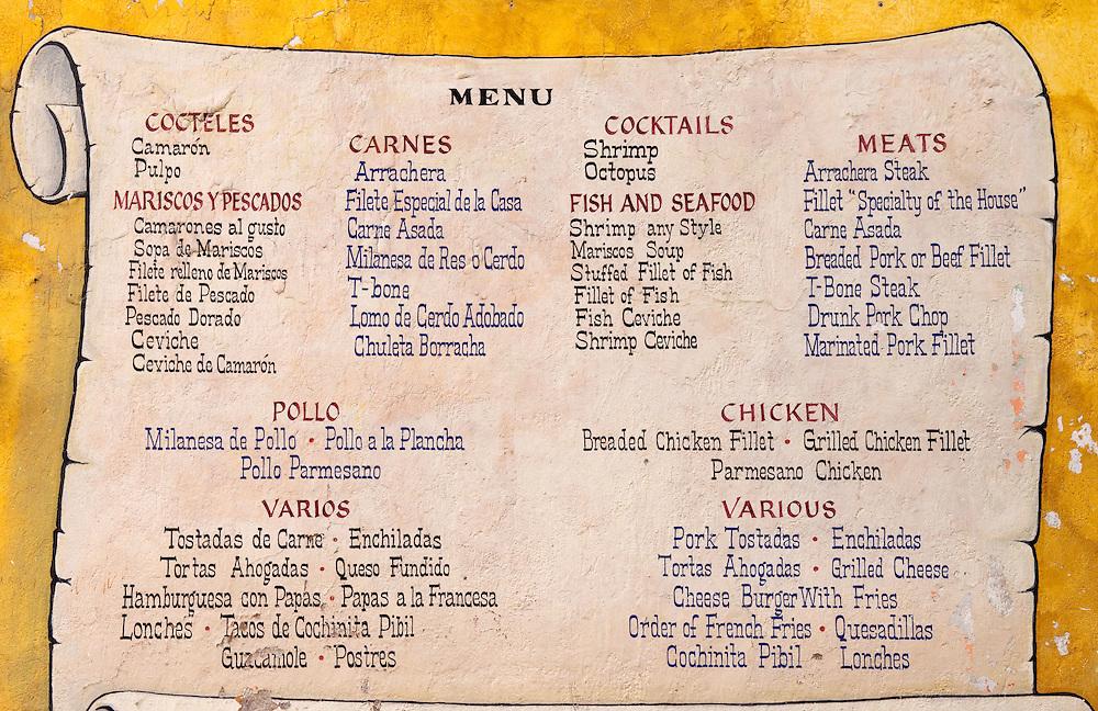 Spanish English Menu At Mexican Restaurant Greg Vaughn Photography