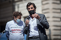 Lega MP from Naples.<br /> <br /> Rome, Italy. 27th May, 2021. Today, Whirlpool workers, mainly from the South of Italy city of Naples, held a demonstration in Piazza Santi Apostoli in Rome to protest against the decision of the US multinational – manufacturer and marketer of home appliances – to close its Naples factory. Moreover, workers and their Trade Union representatives called the Italian Government, led by Prime Minister Mario Draghi, the Parliament, and all the political parties to protect jobs and workers and to make the company respecting the agreements previously made with other Italian Governments (Vertenza Whirlpool).