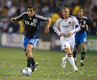 Ivan Guerrero dribbles in front of David Baeckham, Los Angles Galaxy vs the San Jose Earthquakes, Thursday, April 3, 2008.