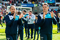 ( L-R ) Swansea Fitness coach, Karl Halabi and Tony Roberts, Swansea City Goalkeeping Coach during the Premier League match between Swansea City and West Bromwich Albion at The Liberty Stadium, Swansea, Wales, UK. Sunday 21 May 2017