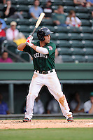 Kevin Heller (17) of the Greenville Drive in a game against the Lexington Legends on Sunday, August 18, 2013, at Fluor Field at the West End in Greenville, South Carolina. Greenville won Game 2 of a doubleheader, 1-0. (Tom Priddy/Four Seam Images)