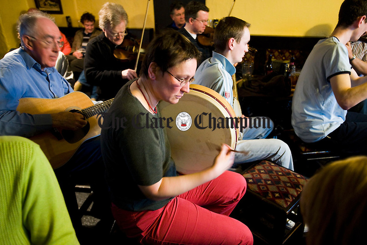 Doras Kautgen on bodhran during a pub session at the Corofin Traditional Festival. Photograph by John Kelly.