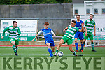 Killarney Celtic's Matthew Keane and Joe Rudden of  Killarney Athletic go toe to toe for possession in the Denny Premier A League Final.
