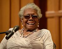 BOCA RATON, FL - JANUARY 16: Dr. Maya Angelou speaks at Congregation B nai Israel on January 16, 2014 in Boca Raton, Florida<br /> <br /> People:  Dr. Maya Angelou