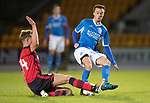 Dave Mackay Testimonial: St Johnstone v Dundee…06.10.17…  McDiarmid Park… <br />Stefan Scougall is tackled by Mark O'Hara<br />Picture by Graeme Hart. <br />Copyright Perthshire Picture Agency<br />Tel: 01738 623350  Mobile: 07990 594431