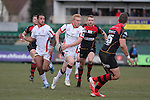 Ulster wing Rory Scholes bursts through the middle of the Dragons defence.<br /> Guinness Pro12<br /> Gwent Dragons v Ulster<br /> 08.03.15<br /> ©Steve Pope - SPORTINGWALES