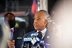 """Reverend Al Sharpton speaks at a press conference in response to the George Floyd and Duante Wright cases along with Benjamin Crump, attorney for the Wright family, and members of the """"Mother's of the Movement"""" during the National Action Network (NAN) Virtual Convention 2021 in New York on Wednesday, April 14, 2021. Photograph by Michael Nagle"""