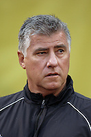 Columbus Crew head coach Sigi Schmid enters the field prior to the game against the NY Red Bulls at Giants Stadium, East Rutherford, NJ, on May 19, 2007.