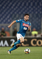 Calcio, Serie A: Roma, stadio Olimpico, 14 ottobre 2017.<br /> Napoli's Dries Mertens in action during the Italian Serie A football match between Roma and Napoli at Rome's Olympic stadium, October14, 2017.<br /> UPDATE IMAGES PRESS/Isabella Bonotto