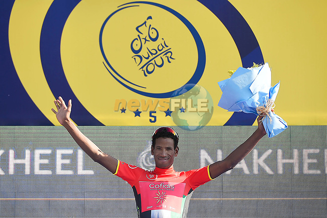 Daniel Teklehaimanot (ERI) Cofidis wears the Red Intermediate Sprint Jersey Classification after Stage 1 The Nakheel Stage of the Dubai Tour 2018 the Dubai Tour's 5th edition, running 167km from Skydive Dubai to Palm Jumeirah, Dubai, United Arab Emirates. 6th February 2018.<br /> Picture: LaPresse/Fabio Ferrari | Cyclefile<br /> <br /> <br /> All photos usage must carry mandatory copyright credit (© Cyclefile | LaPresse/Massimo Paolone)