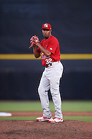 Palm Beach Cardinals relief pitcher Pedro Echemendia (32) gets ready to deliver a pitch during a game against the Dunedin Blue Jays on April 15, 2016 at Florida Auto Exchange Stadium in Dunedin, Florida.  Dunedin defeated Palm Beach 8-7.  (Mike Janes/Four Seam Images)