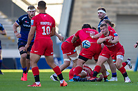 9th September 2020; AJ Bell Stadium, Salford, Lancashire, England; English Premiership Rugby, Sale Sharks versus Sracens; Tom Whiteley of Saracens clears the ball