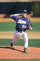 Georgetown Hoyas relief pitcher Simon Mathews (26) delivers a pitch to the plate against the VCU Rams at Wake Forest Baseball Park on February 13, 2015 in Winston-Salem, North Carolina.  The Rams defeated the Hoyas 6-3.  (Brian Westerholt/Four Seam Images)