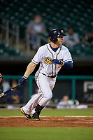 Montgomery Biscuits first baseman Joe McCarthy (31) follows through on a swing during a game against the Mississippi Braves on April 24, 2017 at Montgomery Riverwalk Stadium in Montgomery, Alabama.  Montgomery defeated Mississippi 3-2.  (Mike Janes/Four Seam Images)