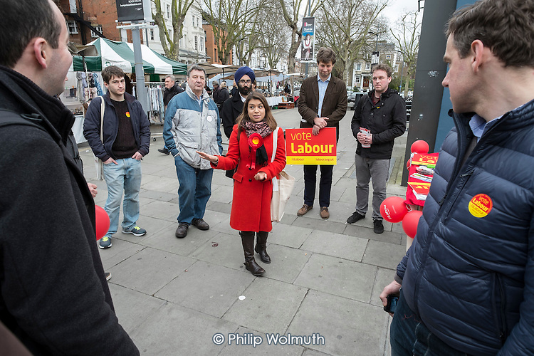 General election 2015: Tulip Siddiq, Labour candidate for Hampstead & Kilburn, the second most marginal seat in the UK, briefs supporters before a canvassing session in Swiss Cottage.