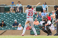 Surprise Saguaros designated hitter Lane Thomas (23), of the St. Louis Cardinals organization, at bat in front of catcher Dom Miroglio (55) and home plate umpire Blake Carnahan during an Arizona Fall League game against the Salt River Rafters at Salt River Fields at Talking Stick on October 23, 2018 in Scottsdale, Arizona. Salt River defeated Surprise 7-5 . (Zachary Lucy/Four Seam Images)