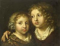 A daughter and a son of the painter - by Caspar Netscher, 1661-1684